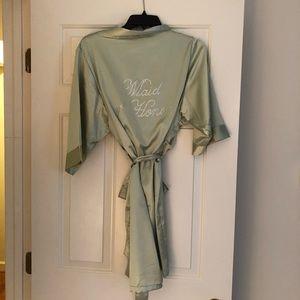 Sage green rhinestone Maid of Honor Satin Robe S/M